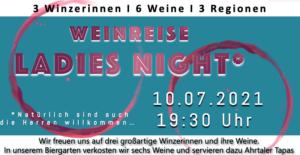 Banner für die Weinreise Ladies Night am 10. Julli 2021